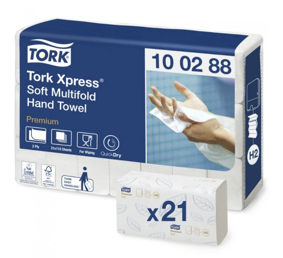 TORK H2 Xpress Premium håndklædeark, 4-fold, 21 pk.