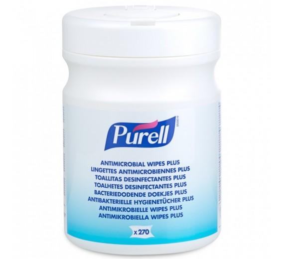 Purell Antimicrobial Wipes Plus, 270 stk. i dispenserbox