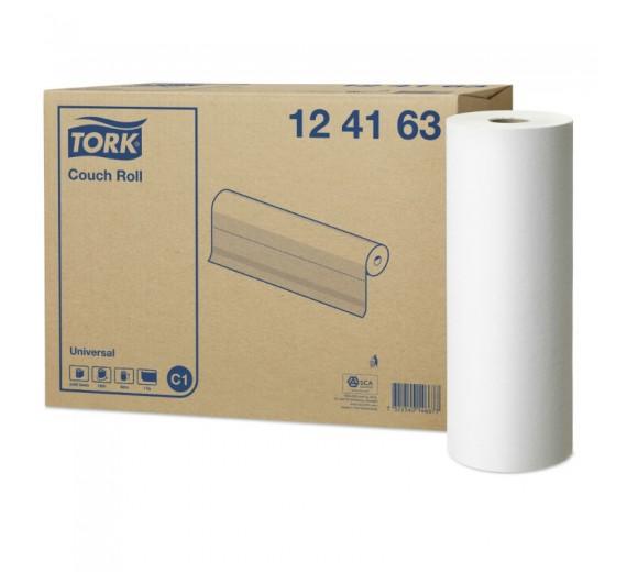 Tork universal lejepapir, hvid, 1 lag, 185 m. pr. rulle, 49,50 cm bred, perforeret