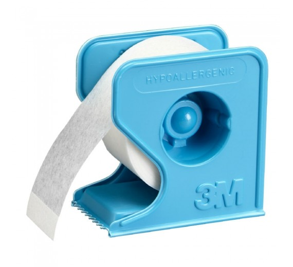 Micropore tape til fiksering. Hvid med dispenser, 5 cm x 9,1 m.
