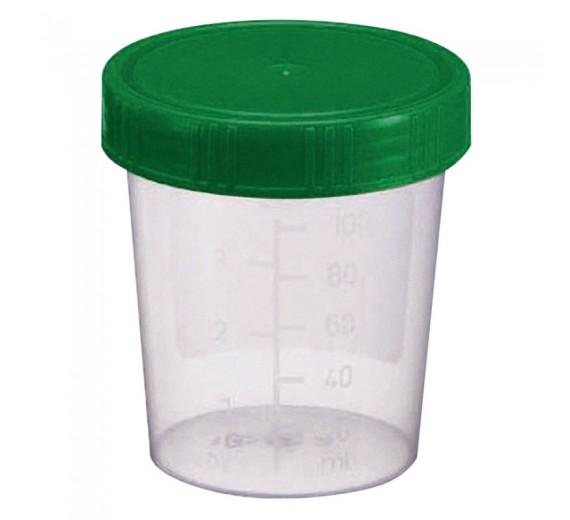 Urinbæger, 120 ml, klar, PP, med skruelåg og skrivefelt, steril, 1 stk