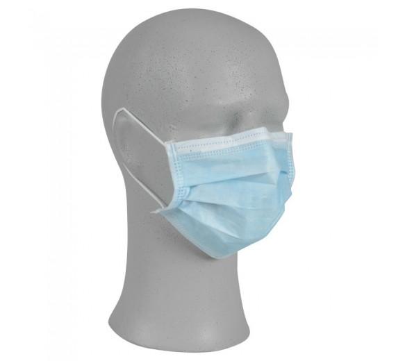 Abena Ansigtsmaske med øreelastikker, 3-lags, blå, engangs, 50 stk