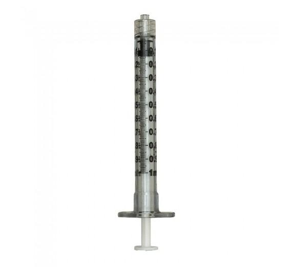 Sprøjte, BD Plastipak, 1 ml, transparent, luer lock, centreret, 3 komponent, steril, engangs, 100 stk.