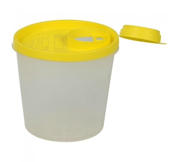 Kanyleboks, Uson, transparent med gult låg, 1500 ml