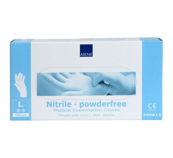 Undersøgelseshandske, Abena Classic Sensitive, hvid, nitril, pudderfri, str. Large