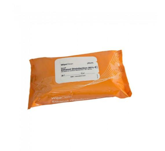 (Alternativ til Wet Wipe 51133) Ethanol disinfection, WipeClean 80%, small, 25 stk.