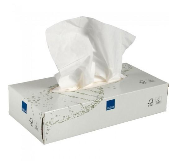 Ansigtsservietter, Abena Care-Ness Excellent, 2-lags, 20 x 19,5 cm, hvid, 100% nyfiber, 100 ark