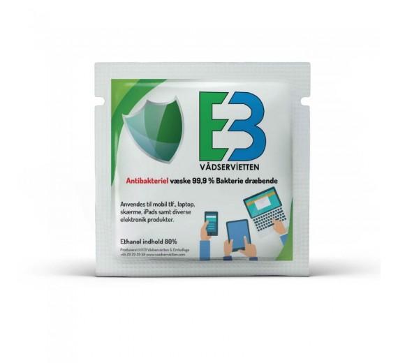 Antibakterielle Ethanolservietter til desinfektion, enkeltindpakkede, 80%, 100 stk.