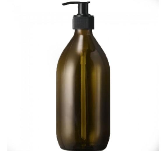 Bæredygtig brun glasflaske med pumpe, til genopfyldning, 1000 ml.