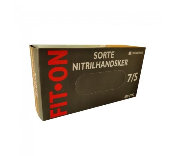 Sorte FIT-ON Nitril engangshandsker, pudderfri, 100 stk., str. Small