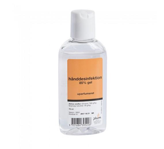 Hånddesinfektion 85%, gel, 75 ml flaske m/click-låg