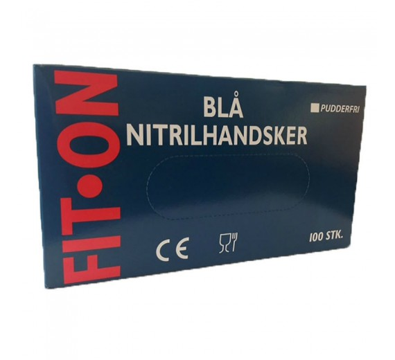 Blå FIT-ON Nitril engangshandsker, pudderfri, 100 stk., str. XL-01