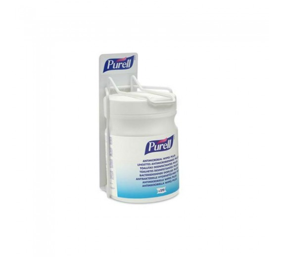 Vægholder til Purell Antimicrobial Wipes, fremstillet i lakeret stål.