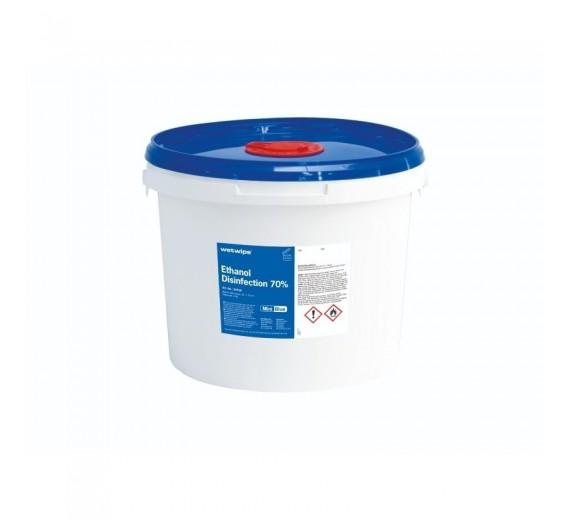 Wet Wipe overfladedesinfektion med 70% ethanol, 20 x 30 cm, 400 stk. i dispenserspand