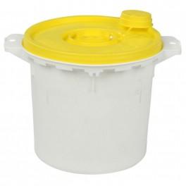 Kanyleboks, Uson, hvid med gult låg, 5000 ml