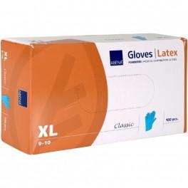 Abena Classic undersøgelseshandsker, let pudret, latex, blå, 100 stk., str. XL