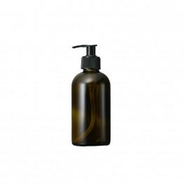 Bæredygtig brun glasflaske med pumpe, til genopfyldning, 250 ml.