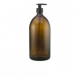 Bæredygtig brun glasflaske med pumpe, til genopfyldning, 500 ml.
