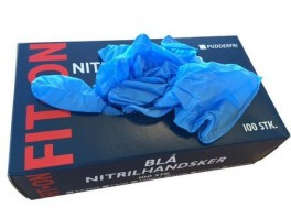 Blå FIT-ON Nitril engangshandsker, pudderfri, 100 stk., str. Large