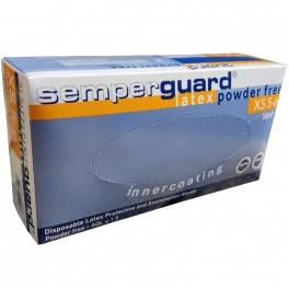 Semperguard engangshandsker, pudderfri, latex, hvide, 100 stk., str. XS