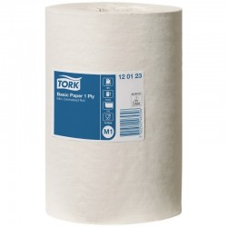 Håndklæderulle, Tork M1 Basic, 1-lags, Mini, hvid, 100% genbrugspapir, 11 ruller