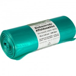Biobaserede affaldssække, transparent grøn, 70 x 110 cm., 100 liter, rl. á 10 stk.