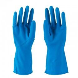 Blå Fit-On latex husholdningshandske, fødevaregodkendt, 1 par, str. Large
