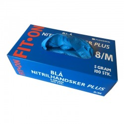 Blå FIT-ON PLUS Nitril engangshandsker, pudderfri, 100 stk., str. Medium