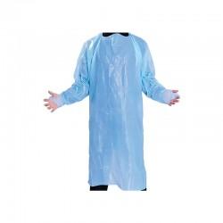 Engangsforklæde med ærmer, 150 x 90 cm, blå, LDPE, usteril, 10 stk.