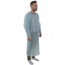 Engangsforklæde med ærmer, 120x112cm, blå, LDPE, usteril, 20 stk