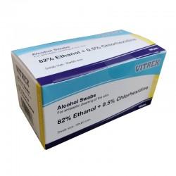 Injektionsserviet Vitrex, 82% ethanol 0,5% klorhexidin, 3x6 cm, 100 stk.